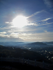 chemtrails over aber... man (SocitRoyale) Tags: old morning cold wales clouds hill january aberystwyth welsh constitution chemical aber consti 2011