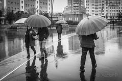 _DSF8589 (Xabier Pieiro) Tags: plaza people bw byn lluvia gente streetphotography bn fujifilm streetphoto paraguas ferrol xseries x100 wclx100ferrol