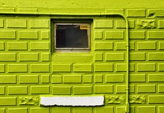 It's Not Easy (Karen_Chappell) Tags: city urban white abstract building green geometric window architecture paint downtown geometry painted bricks pipe stjohns colourful