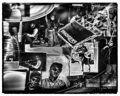 Playing Music (Double-Exposure) (Astroredg) Tags: blackandwhite bw music art illustration blackwhite noiretblanc doubleexposure vinyl images pop nb turntable bands popart recordplayer artists layers popmusic thorens musique noirblanc musiciens layered vinyle platine photographia multiimages tabletournante pictureboard goupes tableaudimages