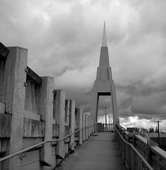 Portland (austin granger) Tags: urban storm film rain square portland concrete foreboding overpass spire gf670 austingranger