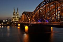Cologne - Rhein Evening (phil_king) Tags: city bridge night river germany deutschland lights evening long exposure cathedral dom cologne railway kln rhine rhein koeln koln klner hohenzollern