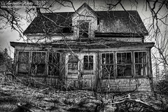 Long Gone (sminky_pinky100 (In and Out)) Tags: old travel bw canada tree tourism home broken landscape outdoors wooden novascotia shadows decay branches abandonedhouse ruraldecay decaying fallingdown omot cans2s