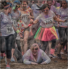 How the Mighty has fallen (Andy J Newman) Tags: england fall smile fun sand unitedkingdom run gb runner westonsupermare weston colourrun