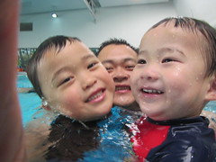 Isaac, Liam and daddy in deep water (avlxyz) Tags: swimming isaac liam fb4