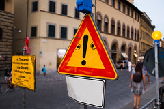 Shocked Sign (Blueorangutan) Tags: italy face sign florence shocked personification