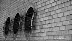Trois hublots (hobbyphoto18) Tags: blackandwhite bw france brick window metal iron noiretblanc pentax nb brique nordpasdecalais fenêtre circular fer hublot ronde k50