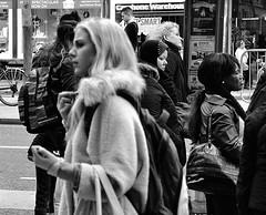 Different Directions (Owen J Fitzpatrick) Tags: ojf people photography nikon fitzpatrick owen j joe street pavement chasing d3100 ireland editorial use only ojfitzpatrick eire dublin republic city candid tamron man pedestrians bw blackandwhite blackwhite black white mono monochrome glamor glamorous blonde society class hierarchy bus stop waiting fur coat fleece bag different directions gloves hitchcock vertigo candidphoto candidphotography candidportrait unposed natural blancoynegro pretoebranco schwarzundweis  hiybi  hi y bi nigra kaj blanka    aswd w abyad