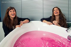 Two girls and a tub of slime (Wet and Messy Photography) Tags: pink longhair karen messy messyhair bathtub slime wam wetandmessy slimed