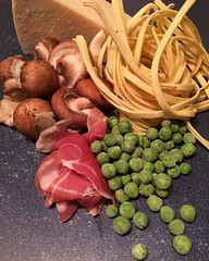 "Dinner tonight: fresh linguine with mushrooms, prosciutto, green peas, and Parmesan. Add in a little bacon lard, garlic, and bone broth and we're all looking forward to dinner.   What's for dinner at your house tonight?  #1840farm #food #dinner #comfortfo • <a style=""font-size:0.8em;"" href=""http://www.flickr.com/photos/54958436@N05/24069147653/"" target=""_blank"">View on Flickr</a>"