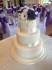 Ivory & Purple Wedding Cake