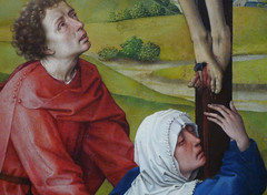 Van der Weyden, Crucifixion Triptych, detail with John and Mary