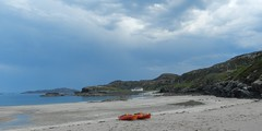 Clashnessie Beach, Sutherland (allanmaciver) Tags: light sea white house beach rain clouds coast north wide stretch canoe trouble bliss sutherland wander clashnessie allanmaciver