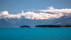 Mt Cook as seen from Lake Pukaki. Canterbury, New Zealand (see related photos in my New Zealand Album) (LKungJr) Tags: blue newzealand mountains nature water clouds landscape turquoise lakes mtcook lakepukaki
