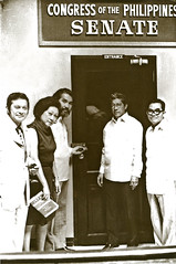 Senators Doy Laurel, Eva Estrada Kalaw, Ramon Mitra, Gerry Roxas and Jovito Salonga in 1973, outside the padlocked Senate session hall. (Presidential Museum and Library) Tags: martiallaw