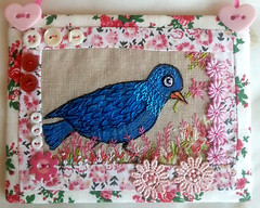 Blue Bird Embroidery with hand sewn quilting and Pink embellishments of lace, beads, ribbons & heart buttons Hanging Art for your Home (18) RustyfishKT (RustyFish101) Tags: sock sewing crochet jewellery kits etsy rustyfishkt