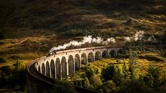 To Hogwarts (semitune) Tags: uk bridge autumn mountain train landscape scotland hill harry potter steam sl locomotive glenfinnan locomotion