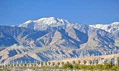 snow capped and wind farmed San Bernardino Mountains, north Palm Springs, San Gorgonio Pass Wind Farm, (David McSpadden) Tags: palmsprings snowcapped windfarm sanbernardinomountains sangorgoniopasswindfarm