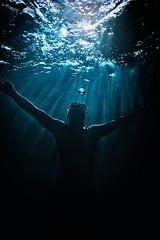 Deep Blue (Petr Kleiner) Tags: blue man pool lines fly fuji diving freediving nik ik ikelite evamarine x100t