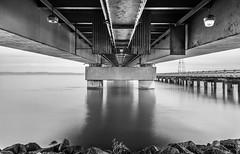 Under the Bridge (Rohit KC Photography) Tags: ocean california ca longexposure bridge sea blackandwhite bw water rock canon san rocks le mateo hdr canon24105mmf4l canon5dmarkii