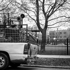 Freecycling (dharder9475) Tags: trees blackandwhite bw truck fence square pickup bbq barbecue recycle recycling freecycle truckbed 2015 privpublic