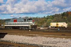 MGA 2300, Brownsville, PA. 10-28-1990 (jackdk) Tags: railroad train railway caboose locomotive ge mga monongahela roster b237 brownsvillepa b237r gelocomotive monongahelarailway locomotiveroster