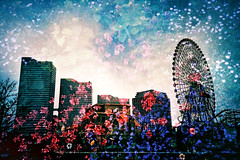Yokohama flower city (Hodaka Yamamoto) Tags: park flower building film silhouette lomo lca lomography crossprocessed doubleexposure crossprocess double lomolca multipleexposure crossprocessing ferriswheel yokohama filmcamera doubles multiexposure filmphotography