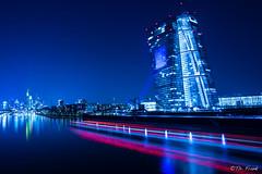 Blue EZB (Grandblog) Tags: skyline canon eos lowlight european frankfurt central bank 5d ef 1740 ezb