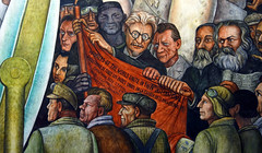 Rivera, Man Controller of the Universe, detail with Trotsky, Engels, and Marx