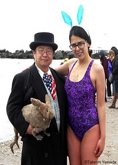 Dr. Takeshi Yamada and Seara (Coney Island sea rabbit) visited Coney Island Polar Bear Club's winter dipping event at the Coney Island Beach in Brooklyn, NY on March 20 (Sun), 2016.  20160320Sun DSCN4523=pC2. (searabbits23) Tags: wild ny newyork sexy celebrity rabbit art hat fashion animal brooklyn asian coneyisland japanese star tv google king artist dragon god manhattan famous gothic goth uma ufo pop taxidermy vogue cnn tuxedo bikini tophat unitednations playboy entertainer oddities genius mermaid amc mardigras salvadordali performer unicorn billclinton seamonster billgates aol vangogh curiosities sideshow jeffkoons globalwarming takashimurakami pablopicasso steampunk damienhirst cryptozoology freakshow polarbearclub seara immortalized takeshiyamada museumofworldwonders roguetaxidermy searabbit barrackobama ladygaga climategate minnesotaassociationofroguetaxidermists  manwithrabbit