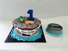 Ninja Turtle with Pizza 1st Birthday Cake & Smash Cake (tasteoflovebakery) Tags: birthday sculpture cake with 1st turtle ninja pizza fully fondant