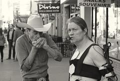 The Cyborg & The Cowboy (Sherlock77 (James)) Tags: musician man calgary downtown busker performer cowboyhat harmonica stephenavenue