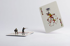 Jokers Are Wild (abnormally average) Tags: toys miniatures funny shoot lol small humour card joker shooting hunter haha ho littlepeople figures playingcard poot hunters hoscale aprilfool aprilfoolsday preiser hofigures abnormallyaverage pootar souppickle