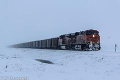 Battling the Snow storm. (Machme92) Tags: railroad sky snow clouds rail row bn rails snowing coal ge railfan bnsf railroads railroading railfanning gevo railfans bnsfkline burligrton