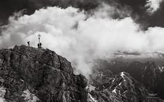 Top of Zugspitze, Study I, Germany (ralfmartini805) Tags: bw mountain alps monochrome germany landscape climb blackwhite europe cross top zugspitze