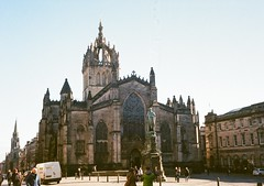 op - edinburgh cathedral (johnnytakespictures) Tags: sun building film church monument sunshine saint st dedication statue architecture pen scotland lomo lomography edinburgh cathedral gothic victorian duke sunny olympus analogue giles halfframe period ee3 williambirnierhind lomographycn400