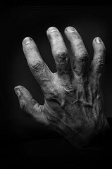 Hand of horror. (KireevI) Tags: white black halloween monochrome monster mystery night dark hand arm zombie ominous finger fear ghost gothic evil dirt human fantasy horror demon devil bizarre ugliness resurrection cruel