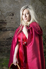 red riding hood (BarryKelly) Tags: red stone wall shiny basket dress silk riding blonde hood satin