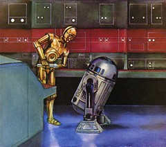 C-3P0 and R2-D2 with a microphone (Tom Simpson) Tags: illustration vintage starwars space science r2d2 c3p0 microphone 1970s controlroom childrensbook 1979 deathstar droids threepio artoo dinahlmoche davidkawami