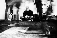 They call me Deacon Blues (Rob Castro) Tags: california street travel people urban blackandwhite bw man blur monochrome horizontal 35mm vintage losangeles mood sitting traffic availablelight candid existentialism highcontrast rangefinder motionblur infrared fujifilm lax grainy eyesclosed urbanism apathy bnw nihilism caucasian deepthoughts unsuspecting baldman foottraffic visualartist inmyworld xpressus xpro1 allxpressus thedefiningtouch juznobsrvr robcastro justanobserver juzno photographerinsoutherncalifornia 35mmxflens unsuspectingprotagonist iamgenerationimage airportrush