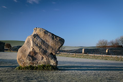 Big Rock (Ken_Jones) Tags: morning blue england sky cold standing sunrise ancient frost unitedkingdom stones gb druid avebury