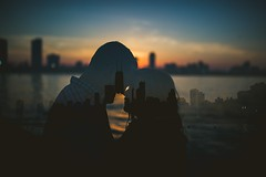 Sunsets, Skylines, and You (Christopher.F Photography) Tags: sunset portrait chicago silhouette skyline engagement doubleexposure creative multipleexposure