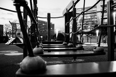 34/365 (theaftergloweffect) Tags: wood bridge blackandwhite bw white black monochrome playground metal children grey gris blackwhite noir noiretblanc bokeh structure depthoffield pont enfants blanc bois jeux profondeurdechamps