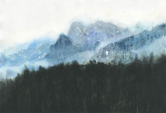 Yosemite, in blue (rkuruvilla) Tags: california blue trees winter sky snow abstract mountains art rain fog forest watercolor painting mixed media hiking parks national yosemite expressionism treeline semiabstract