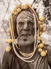 Mursi Woman, Ethiopia (Rod Waddington) Tags: africa old portrait people woman face female outdoor african traditional culture tribal afrika omovalley ethiopia tribe ethnic mursi afrique ethiopian omo etiopia ethiopie etiopian lipplate