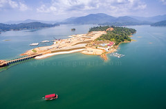 commercial contruction project (sydeen) Tags: blue summer vacation lake reflection tree green nature water ecology beautiful forest landscape island boat scenery view natural crane outdoor top scenic aerial dirty commercial shore malaysia land contruction terengganu kenyir