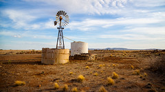 Two tanks and a windmill (RWYoung Images) Tags: windmill field rural canon tank farm country dry drought plain watertank paddock rwyoung 5d3 abctvweather