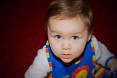Playtime (tarheelz11) Tags: boy portrait baby playing blur male face angel hair eyes glow dof angle expression bib handsome lookingup depthoffield handsomefella playtime gaze highlight canonef2470mmf4lisusm canoneos7dmkii