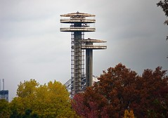 New York State Pavillion Observation Towers (paulsvs1) Tags: nyc newyorkcity red tower fall colors yellow clouds grit colorful cityscape decay towers fallfoliage queens worldsfair unisphere meninblack flushingmeadowscoronapark newyorkstatepavillion outerboroughs 2013