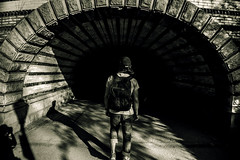Tunnel ( Esther ) Tags: street city nyc newyorkcity travel boy shadow urban blackandwhite usa white ny newyork art blancoynegro architecture america canon dark photography lights shoot cityscape darkness centralpark united sombras nuevayork tnel travelin travelphotography canon7d